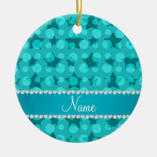 Personalized name turquoise stars volleyballs ceramic ornament