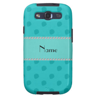 Personalized name turquoise strawberries pattern samsung galaxy s3 case
