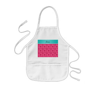 Personalized name turquoise stripe pink yoga kids' apron