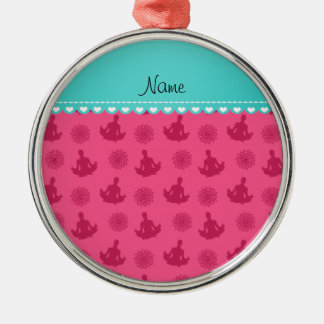 Personalized name turquoise stripe pink yoga christmas ornament