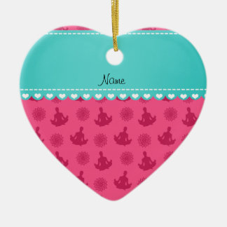 Personalized name turquoise stripe pink yoga christmas tree ornament
