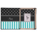 Personalized name turquoise stripes black dots iPad folio cases