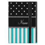 Personalized name turquoise stripes black dots cover for iPad mini