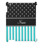 Personalized name turquoise stripes black dots case for the iPad 2 3 4