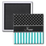 Personalized name turquoise stripes black dots fridge magnet