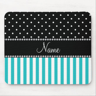 Personalized name turquoise stripes black dots mouse pad