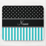 Personalized name turquoise stripes black dots mousepads