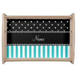 Personalized name turquoise stripes black dots food tray