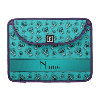 Personalized name turquoise sugar skulls MacBook pro sleeves