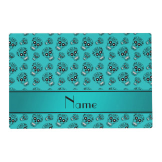 Personalized name turquoise sugar skulls laminated placemat
