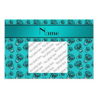 Personalized name turquoise sugar skulls photo print