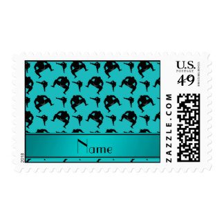 Personalized name turquoise sumo wrestling postage