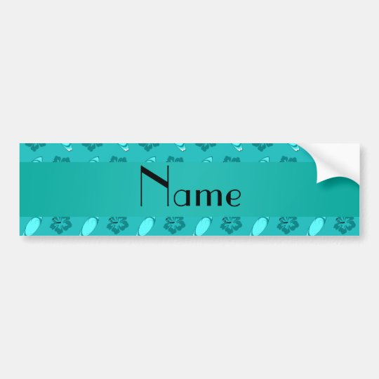 Personalized name turquoise surfboard pattern bumper sticker