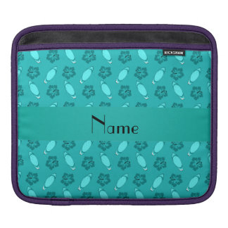 Personalized name turquoise surfboard pattern iPad sleeves