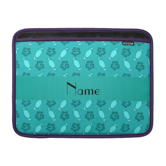 Personalized name turquoise surfboard pattern sleeves for MacBook air