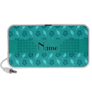 Personalized name turquoise surfboard pattern travel speakers
