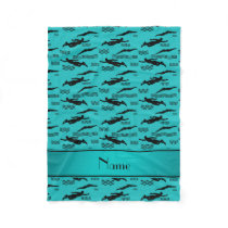 Personalized name turquoise swimming pattern fleece blanket