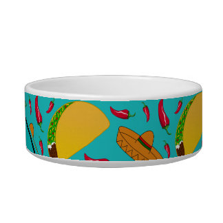 Personalized name turquoise tacos sombreros chilis pet bowls