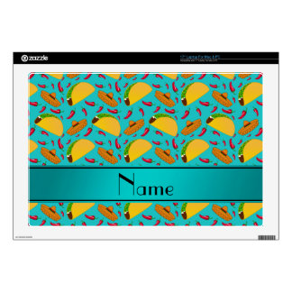 Personalized name turquoise tacos sombreros chilis skin for laptop