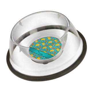 Personalized name turquoise tacos sombreros chilis pet bowl