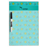 Personalized name turquoise tennis balls dry erase whiteboards