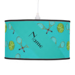 Personalized name turquoise tennis balls hanging lamps