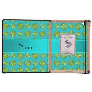 Personalized name turquoise tennis balls pattern iPad folio case