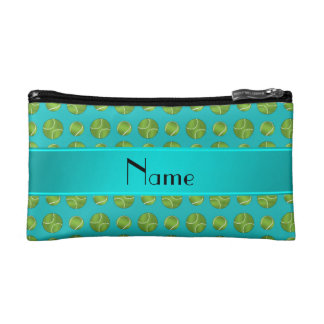 Personalized name turquoise tennis balls pattern cosmetic bag