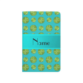 Personalized name turquoise tennis balls pattern journal