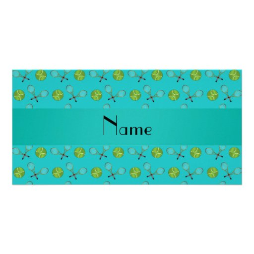 Personalized name turquoise tennis balls photo cards