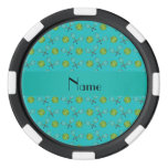 Personalized name turquoise tennis balls set of poker chips