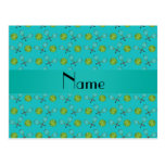 Personalized name turquoise tennis balls postcard