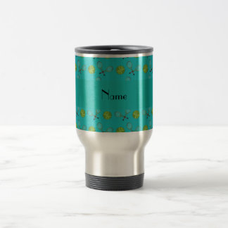 Personalized name turquoise tennis balls travel mug
