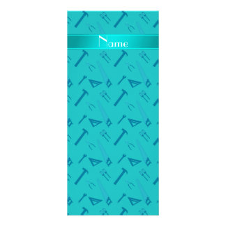 Personalized name turquoise tools pattern personalized rack card