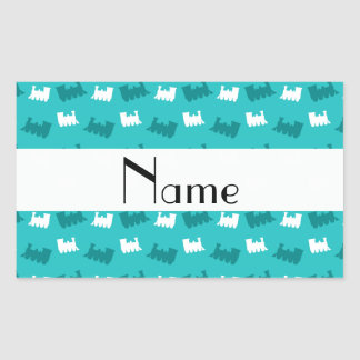 Personalized name turquoise train pattern rectangle stickers