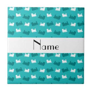 Personalized name turquoise train pattern tile