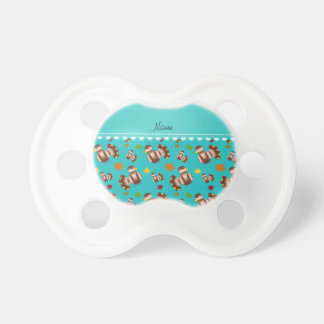 Personalized name turquoise turkey's leaves BooginHead pacifier