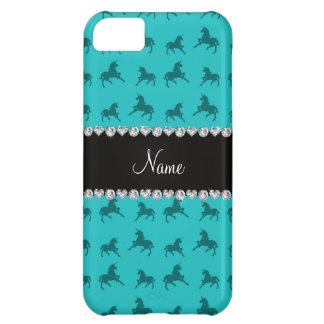 Personalized name turquoise unicorn pattern case for iPhone 5C