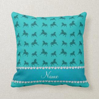 Personalized name turquoise unicorns pattern throw pillow