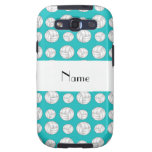 Personalized name turquoise volleyball balls galaxy SIII cases