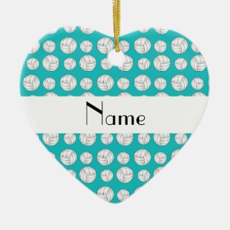 Personalized name turquoise volleyball balls christmas tree ornament