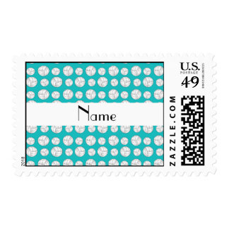 Personalized name turquoise volleyball balls stamp