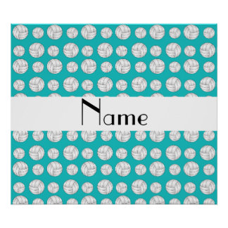 Personalized name turquoise volleyball balls poster