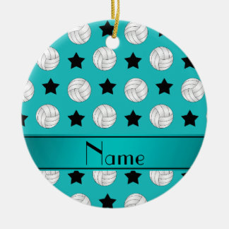 Personalized name turquoise volleyball black stars ceramic ornament