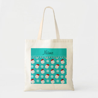 Personalized name turquoise volleyballs santa hats tote bag