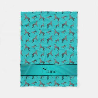 Personalized name turquoise Weimaraner dogs Fleece Blanket