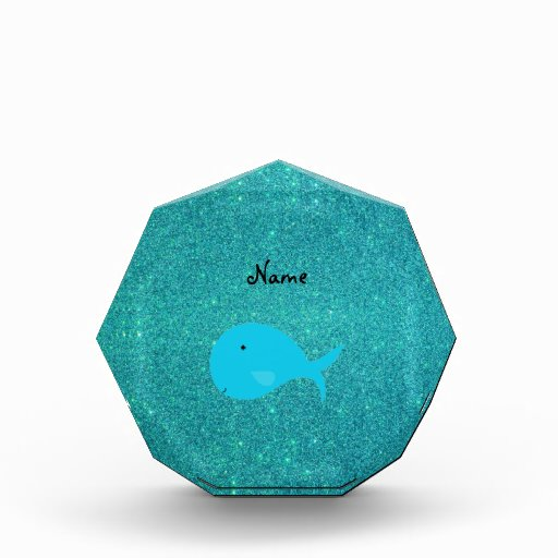 Personalized name turquoise whale glitter award