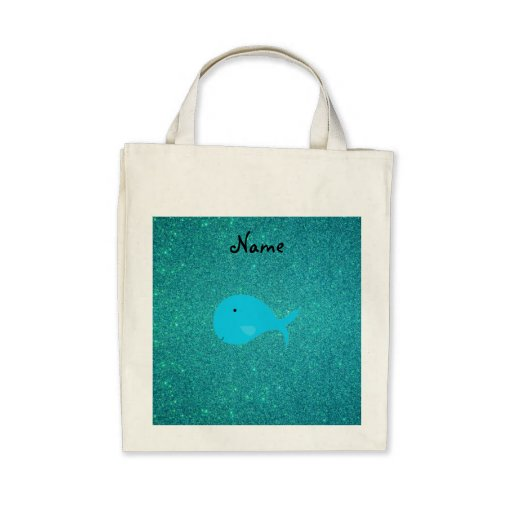 Personalized name turquoise whale glitter canvas bag