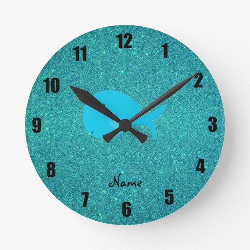 Personalized name turquoise whale glitter round wallclock