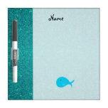 Personalized name turquoise whale glitter Dry-Erase whiteboard
